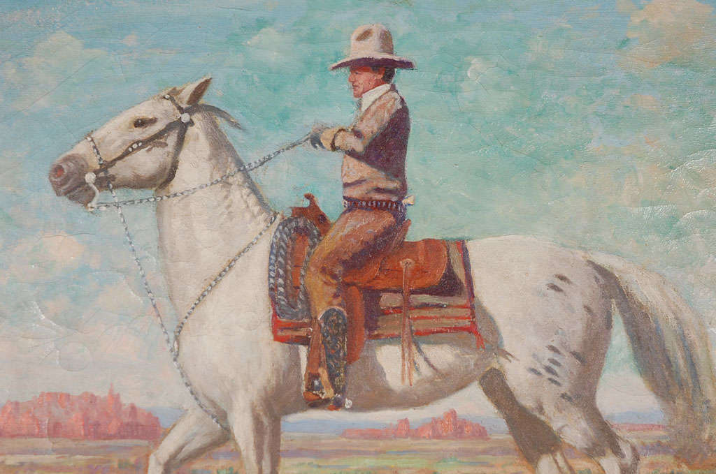 Other Oil Painting of Mounted Cowboy and His Horse For Sale