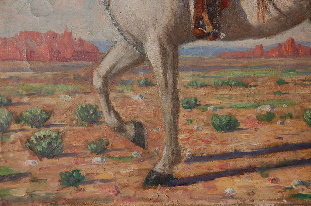 American Oil Painting of Mounted Cowboy and His Horse For Sale