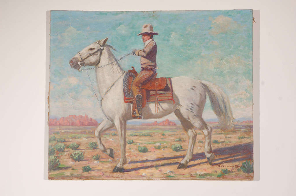 Oil portrait of Hollywood style, western rider on horseback. Signed D. Jackson Moore. Unframed canvas on an original wood stretcher with tacked edges.