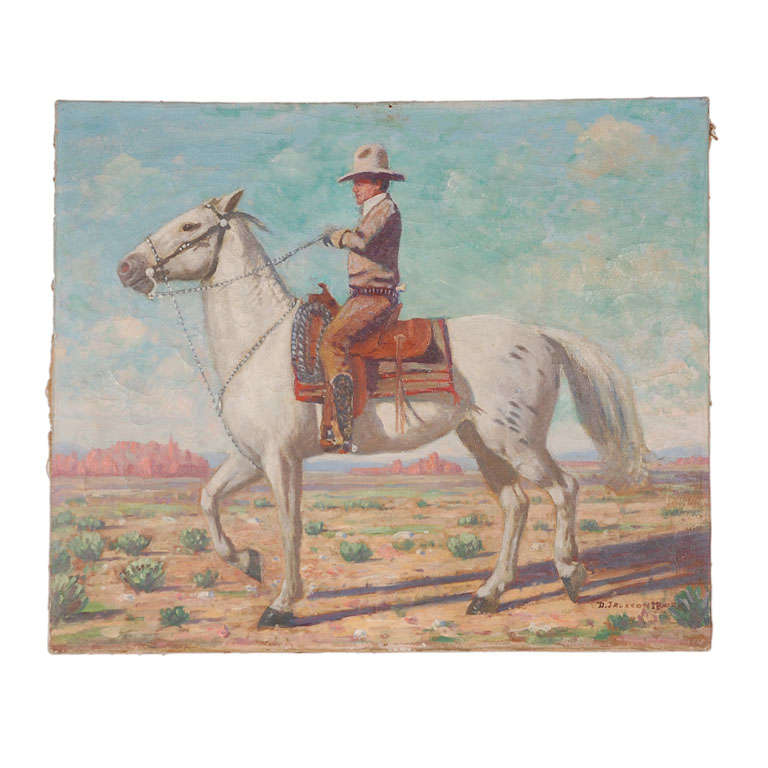 Oil Painting of Mounted Cowboy and His Horse For Sale