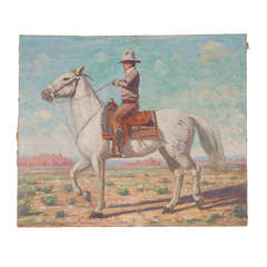 Oil Painting of Mounted Cowboy and his Horse