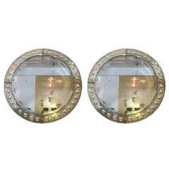 Pair of Circular Venetian Style Mirrors