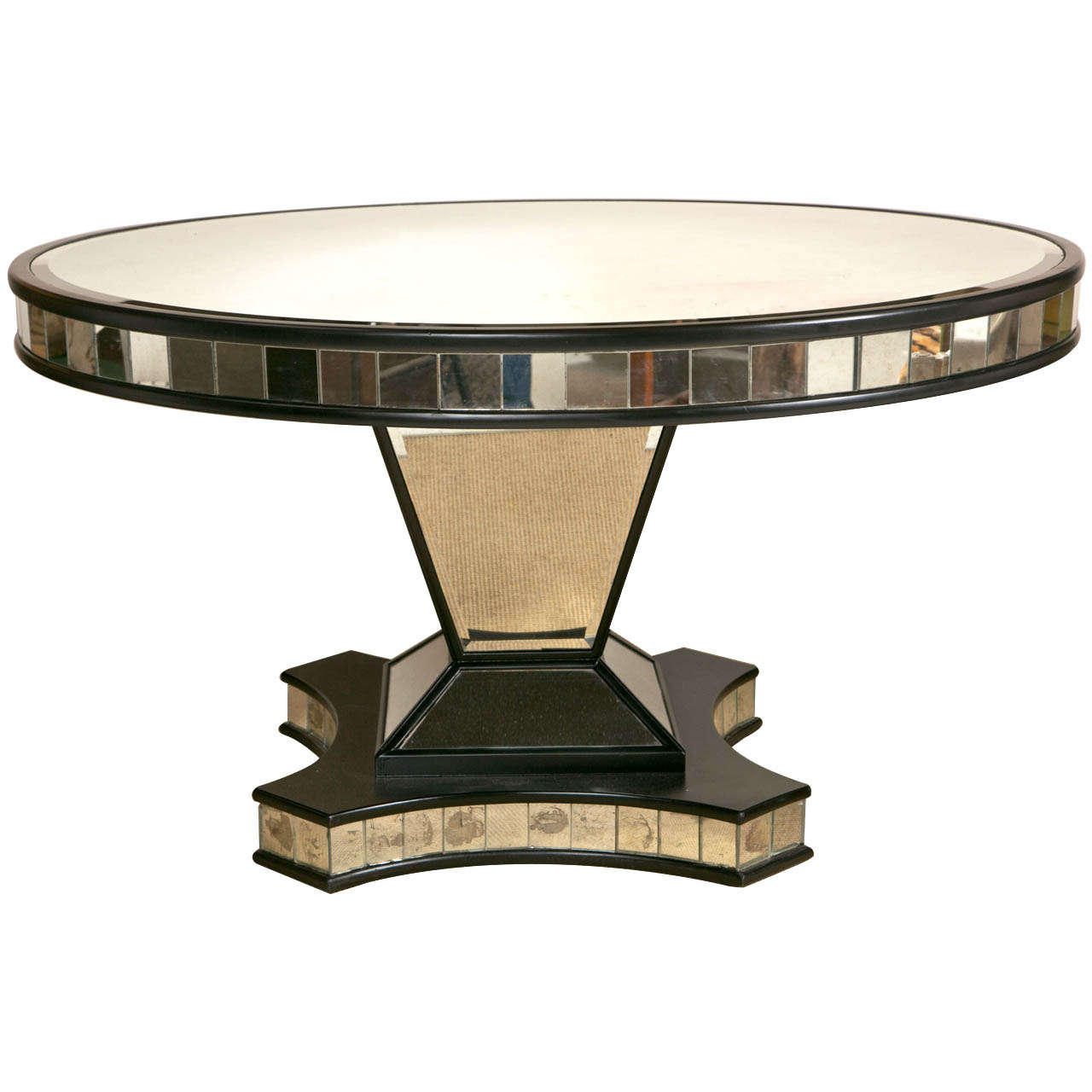 Mid Century Mirrored Pedestal Base Dining Table at 1stdibs : X from www.1stdibs.com size 1280 x 1280 jpeg 81kB