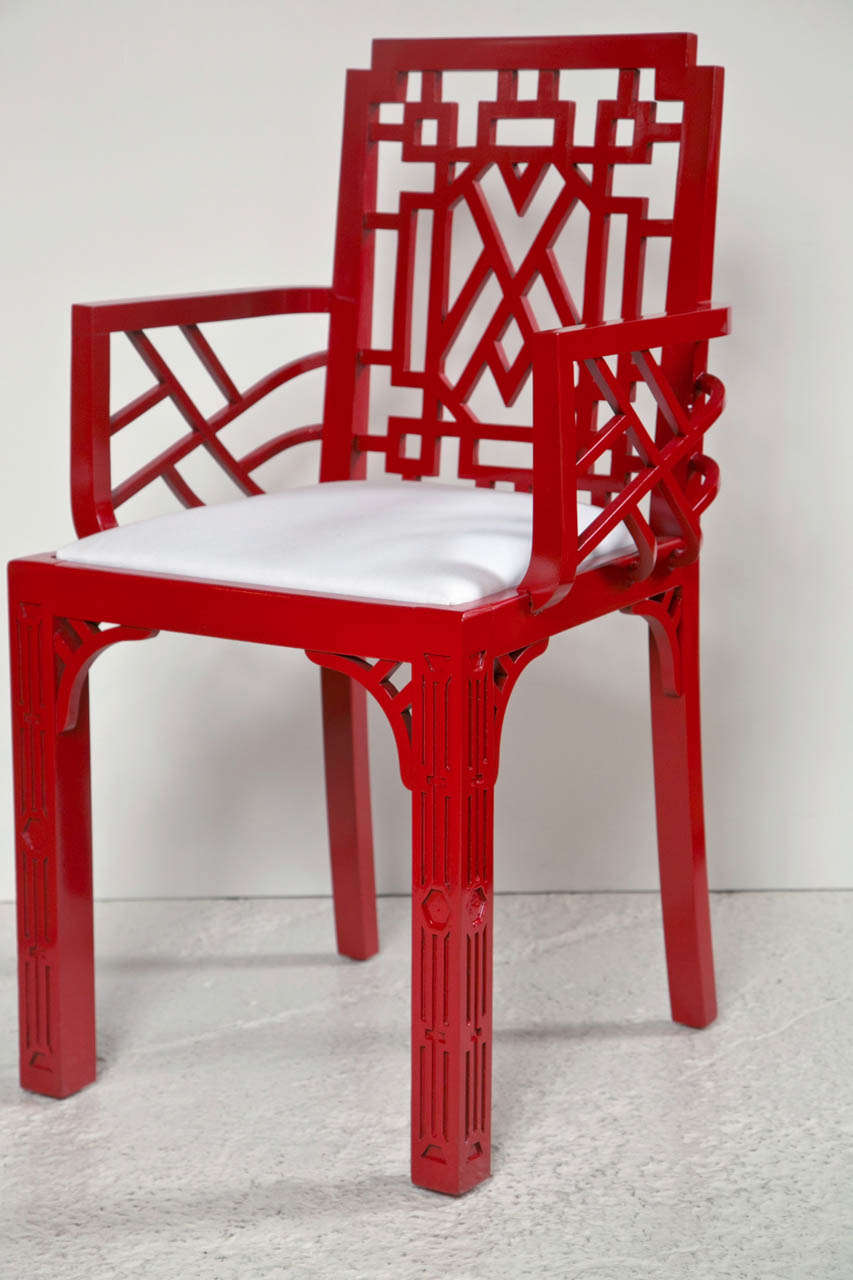 red lacquered furniture. 20th Century Pair Of Red Lacquered Chippendale Style Chairs For Sale Furniture