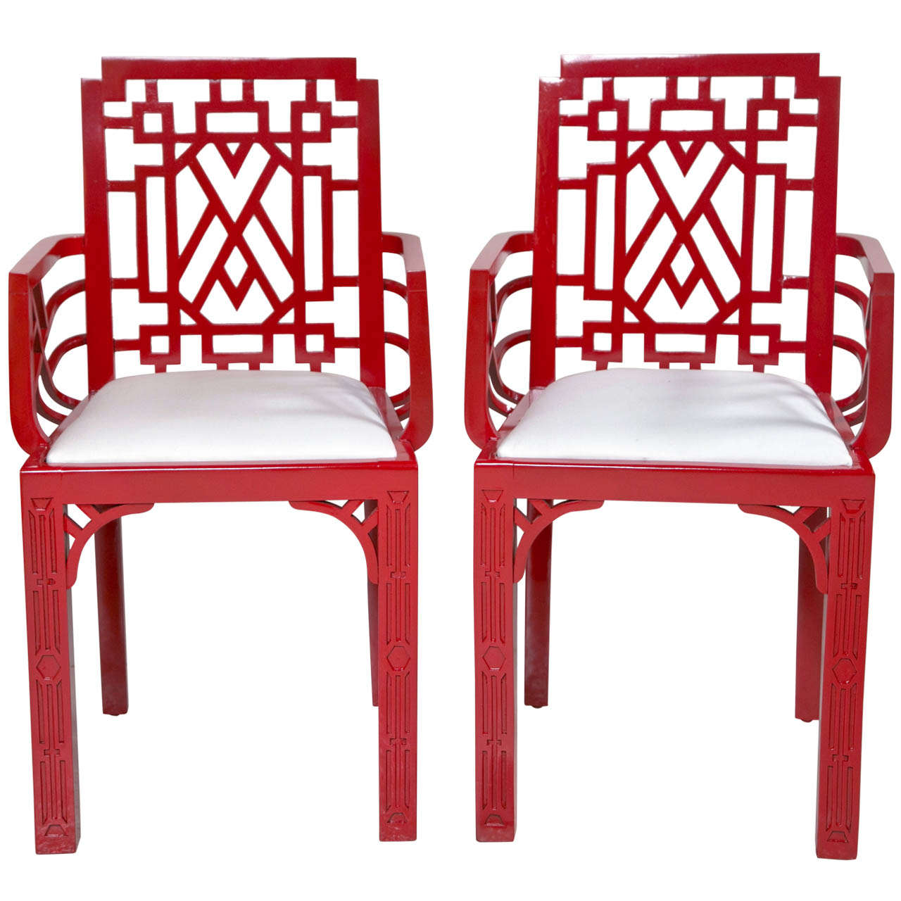 red lacquered furniture. Pair Of Red Lacquered Chippendale Style Chairs For Sale Furniture 1stDibs