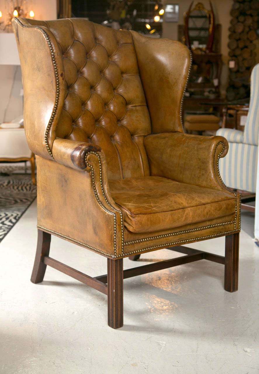 1920 S Leather Wingback Chair In Great Old Patina