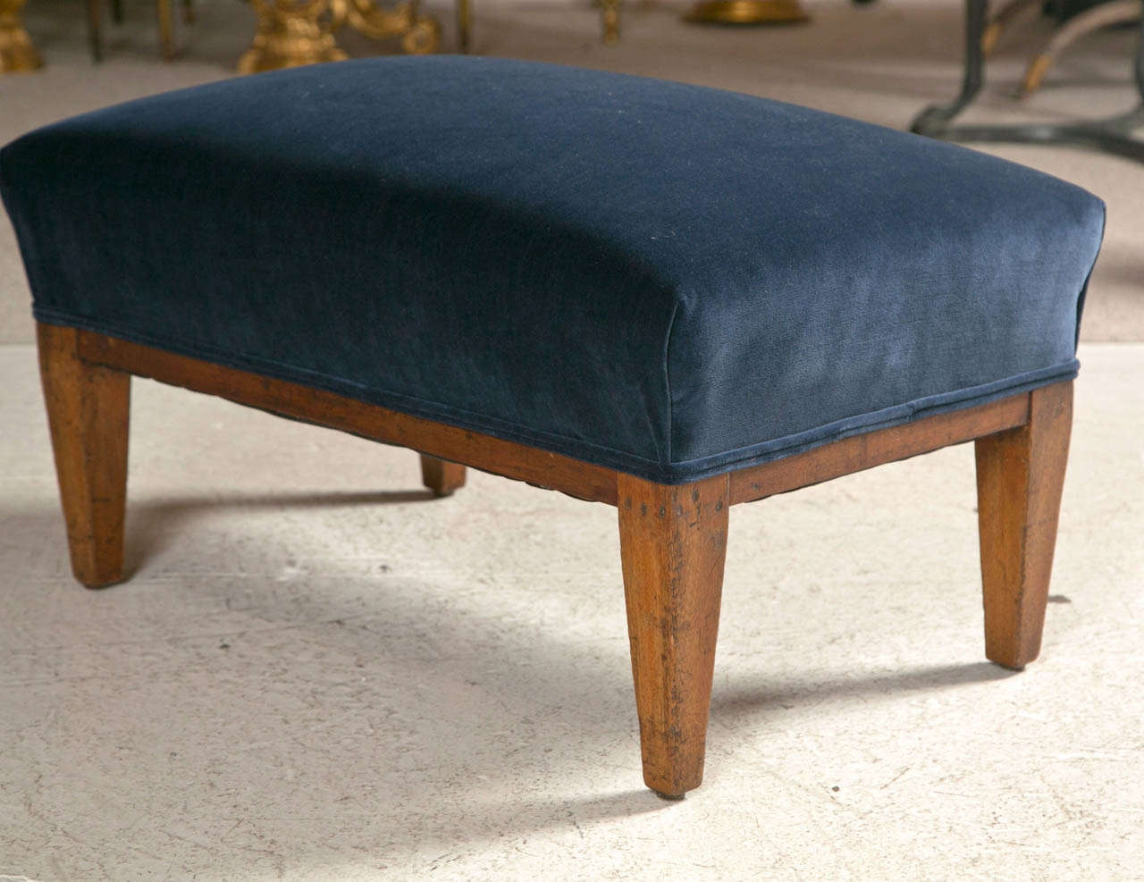 French Foot Stool Upholstered In Blue Velvet With Mahogany