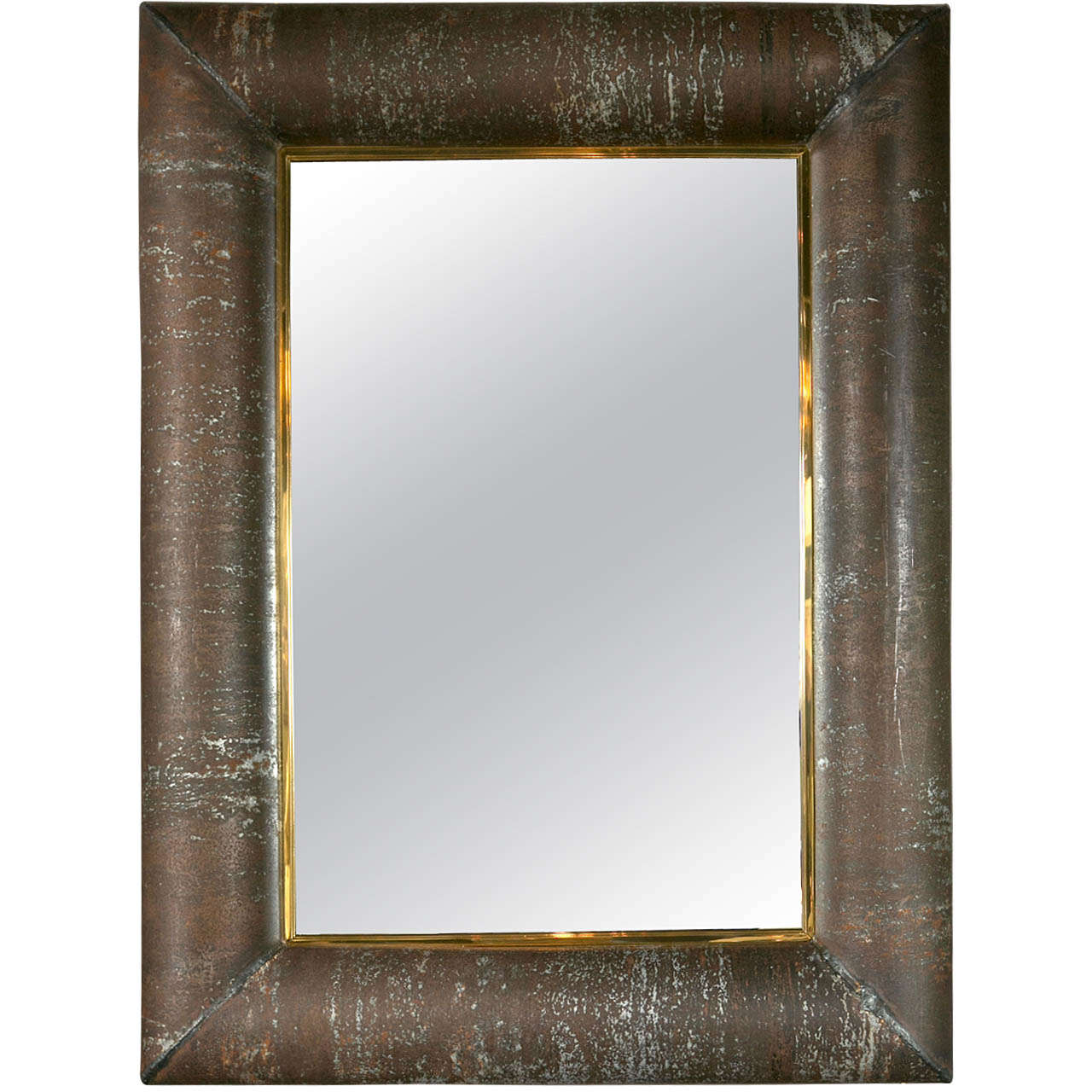 Vintage custom steel metal mirror with brass mirror inset for Custom mirrors