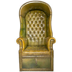 1930's Green Leather Porter Chair with Storage Underneath