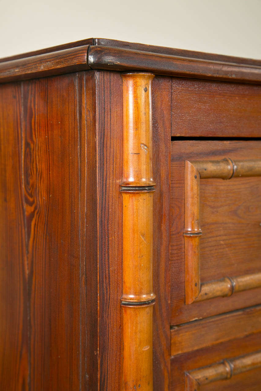 Antique English Tall Chest Of Drawers With Bamboo Detail
