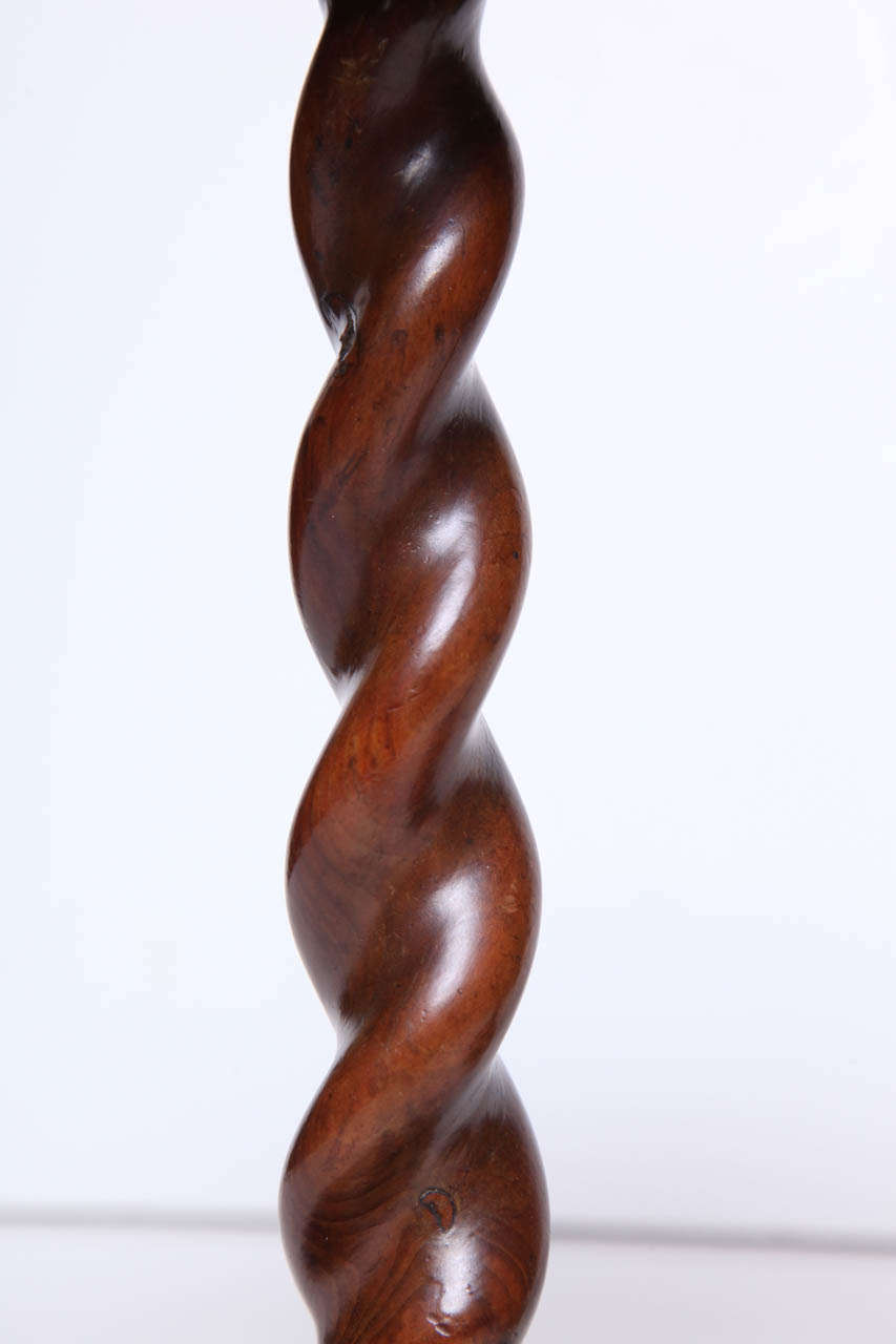 Pair of English Burr Yew Wood Candlestands 5