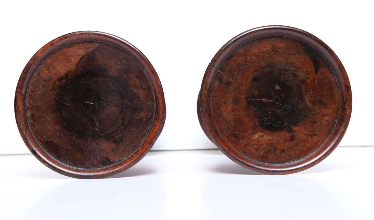 Pair of English Burr Yew Wood Candlestands 7
