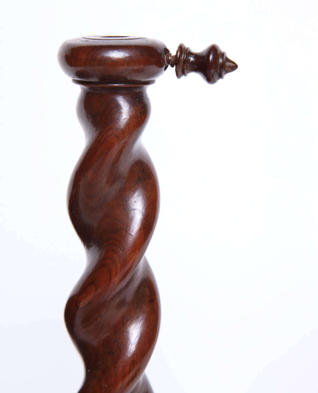 Pair of English Burr Yew Wood Candlestands 8