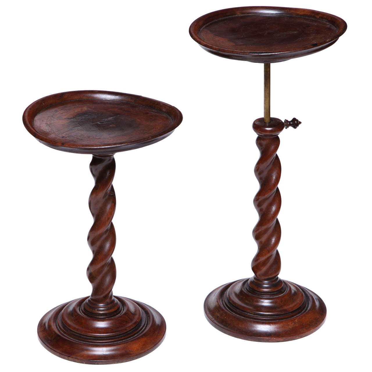 Pair of English Burr Yew Wood Candlestands 1