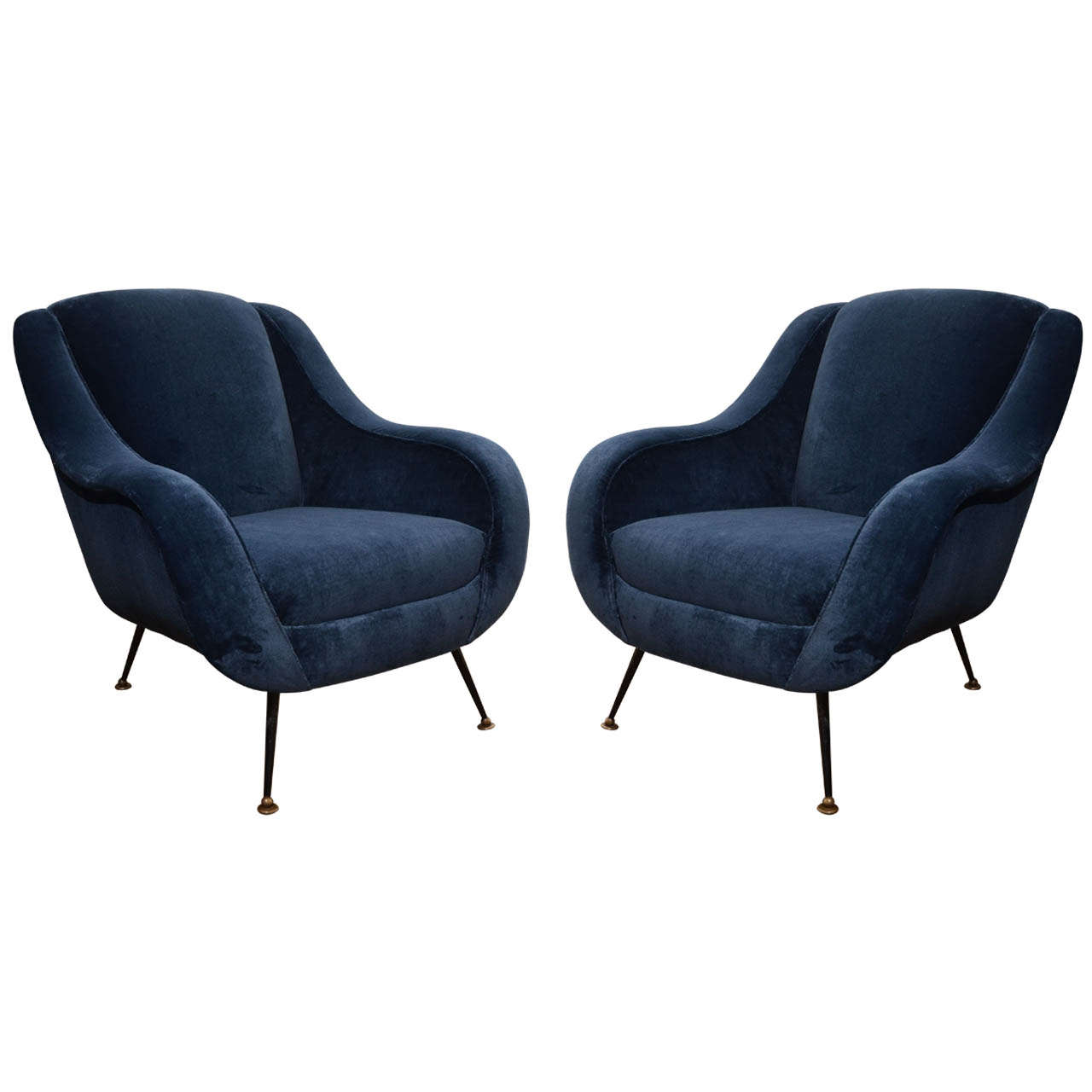 Pair Of 1950u0027s Italian Club Chairs In The Style Of Marco Zanuso For Sale
