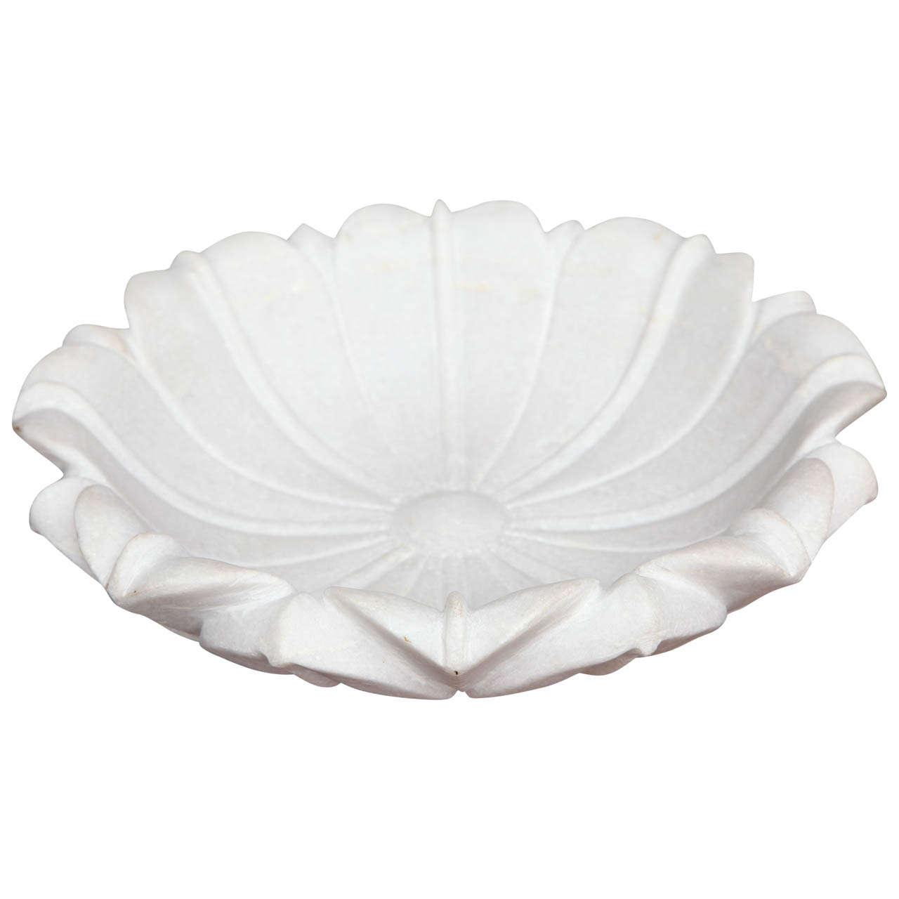 Carved Marble Lotus Bowl