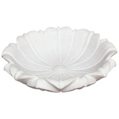 Carved Marble Lotus Bowl