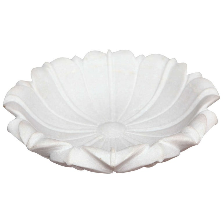 Carved Marble Lotus Bowl For Sale