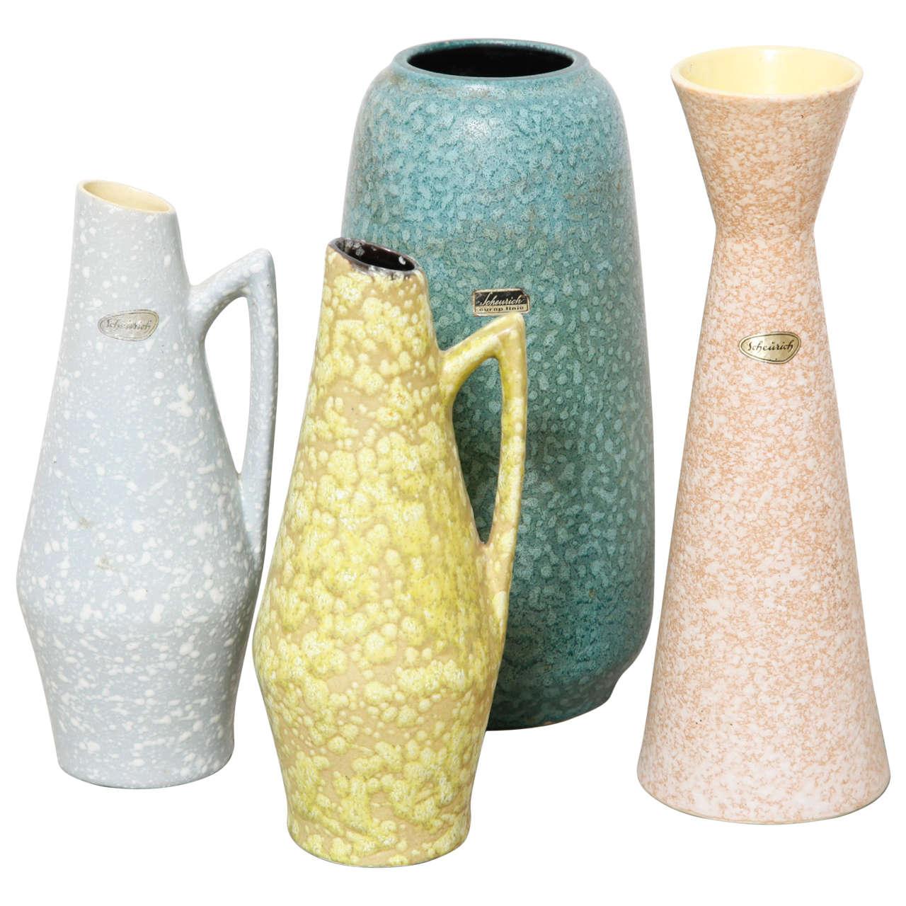 set of modernist scheurich west germany ceramic vases at stdibs - set of modernist scheurich west germany ceramic vases