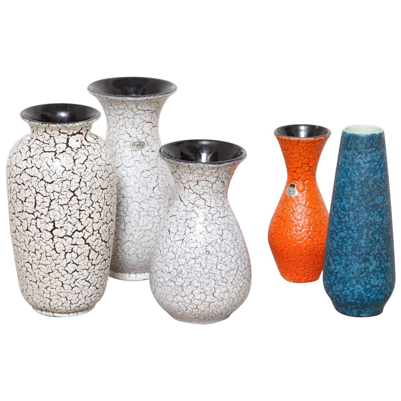 Group of Modernist Jasba Craquelé Ceramic Vases