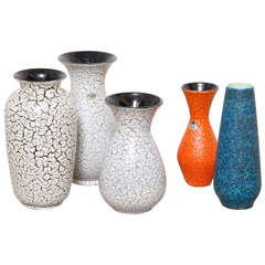 Group of Modernist Jasba Craquelé Ceramic Vases