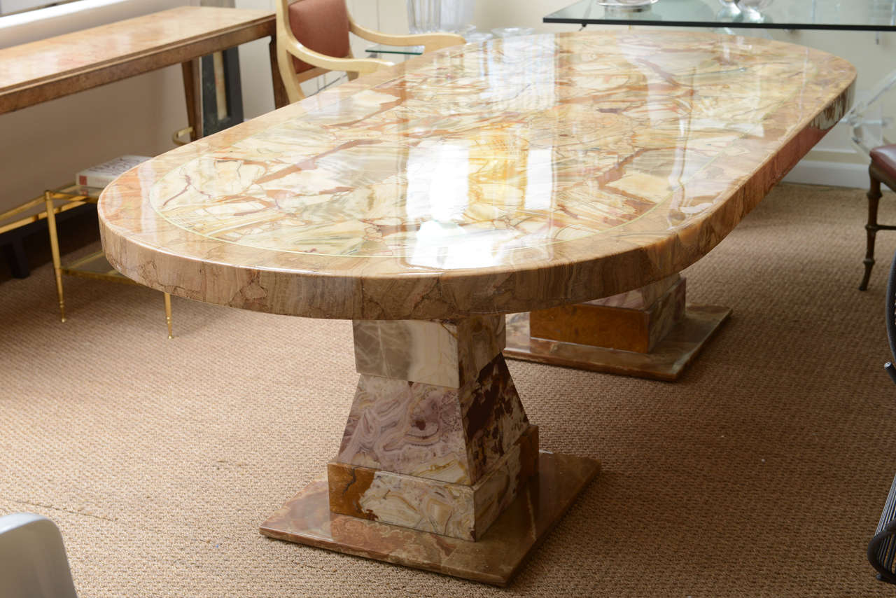 Onyx Racetrack Shaped Dining Table For Sale 1