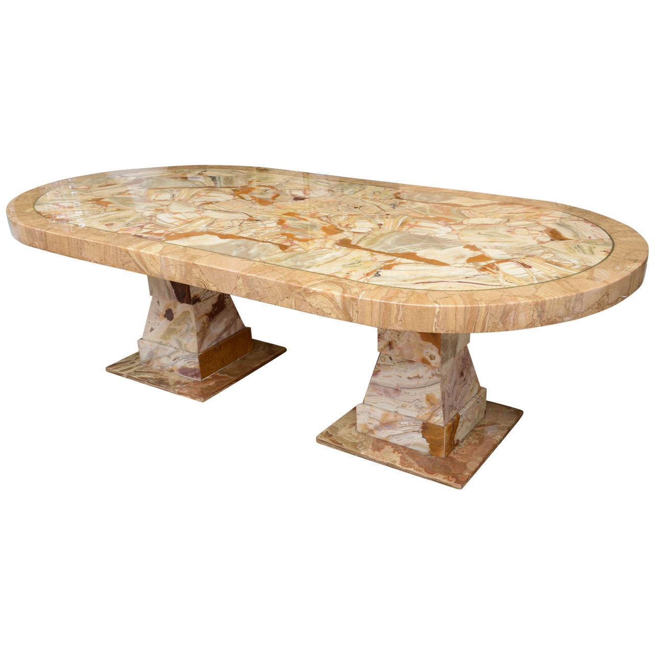 Onyx Racetrack Shaped Dining Table At 1stdibs