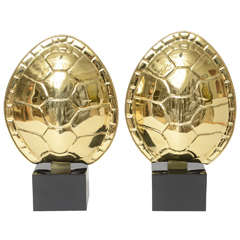 Pair of Chapman Brass Tortoise Shell Lamps