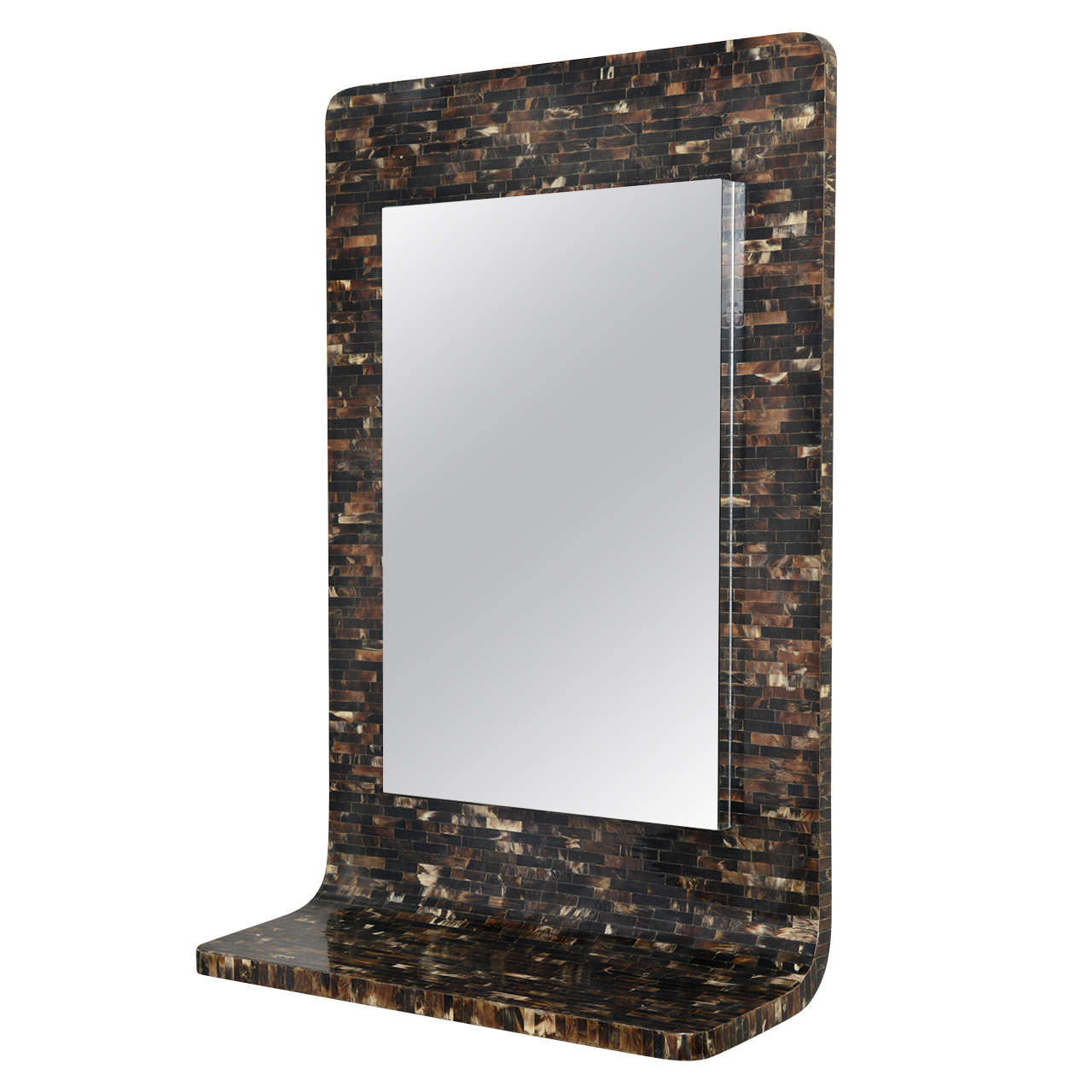 1970s Tessellated Horn Wall Mounted Console and Mirror