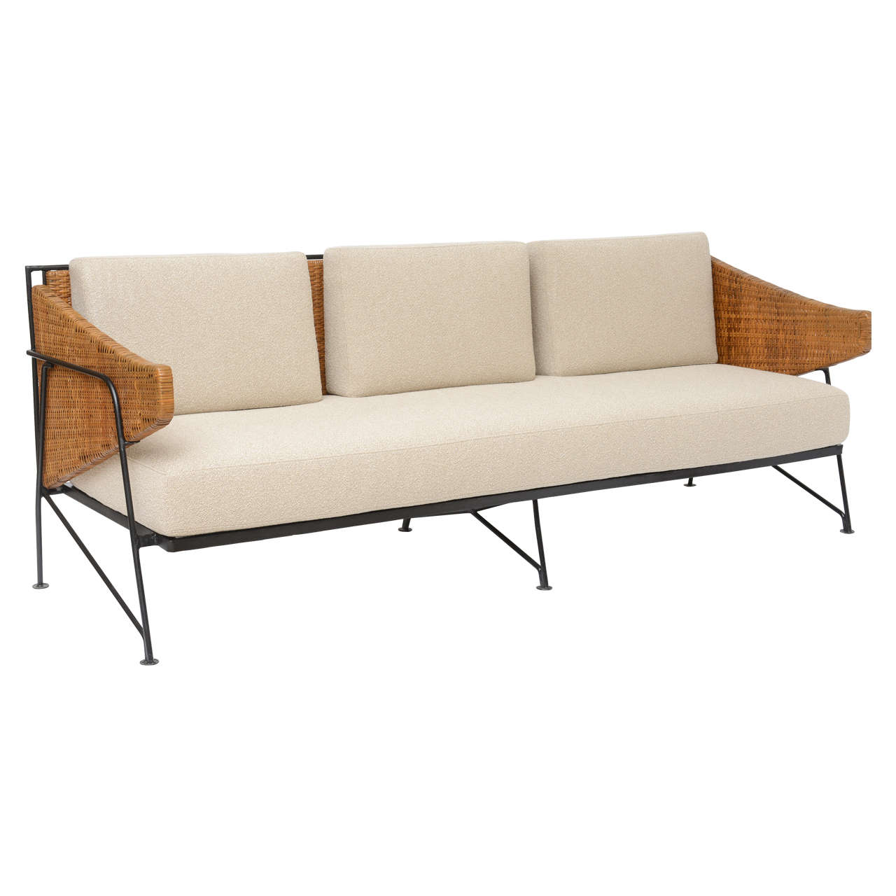 Wrought Iron And Wicker Sofa By Maurizio Tempestini For Salterini At 1stdibs