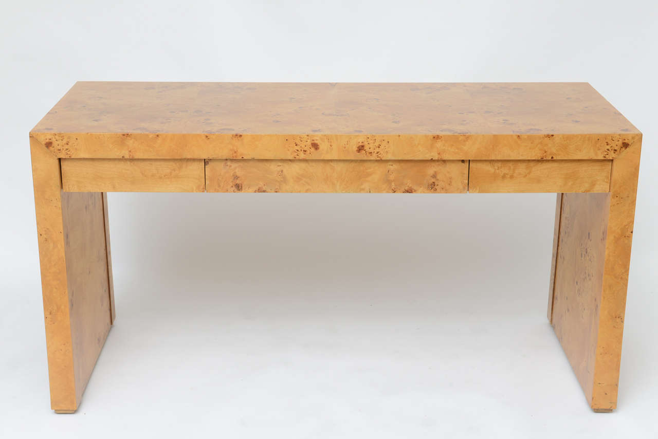 Handsome Minimalist Parsons Style Desk In Olive Burl Wood With Three Drawers Could Serve As