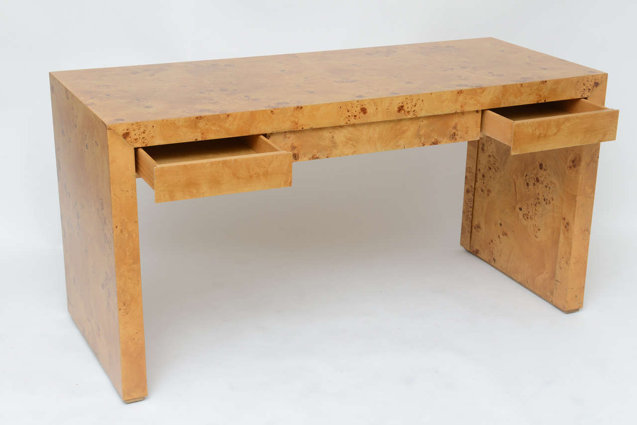 1970s Wood Furniture ~ S burl wood desk at stdibs