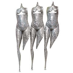"Textural, Brutalist & Dimensional ""Three Torsos"" Female Muse Wall Sculpture"