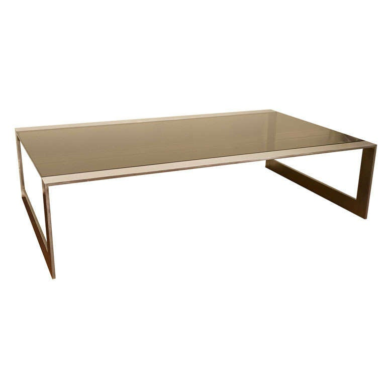 Stainless Steel And Glass Coffee Table At 1stdibs