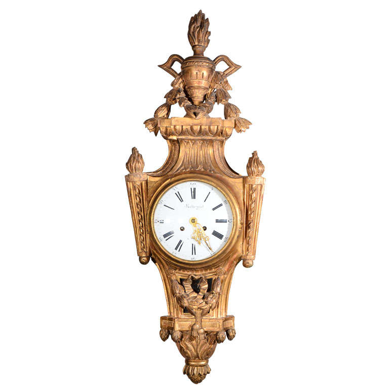 Wood carved wall clock at stdibs