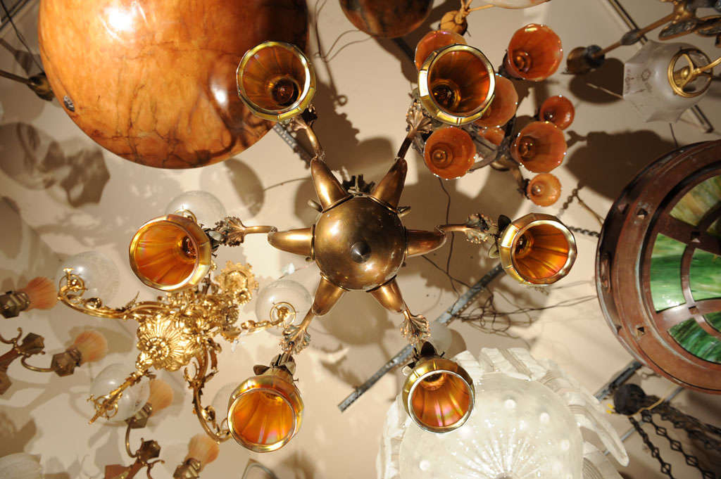 Truly Fabulous Bronze Chandelier With 6 Steuben Glass