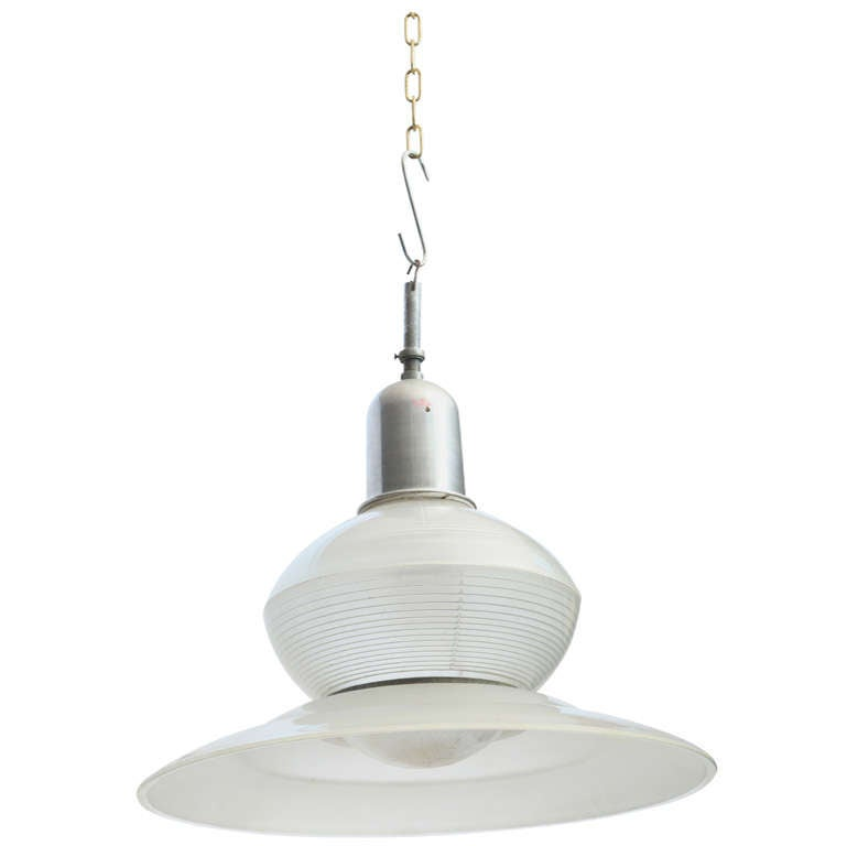 Vintage French Industrial Ceiling Light From Holophane For