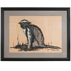 1950's Gouache of Monkey by Jean Poulain