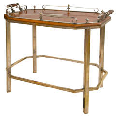19th c English Oak and Silver Tray on Stand