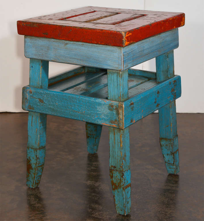 Antique French Folk Art End Table in Painted Pine  5