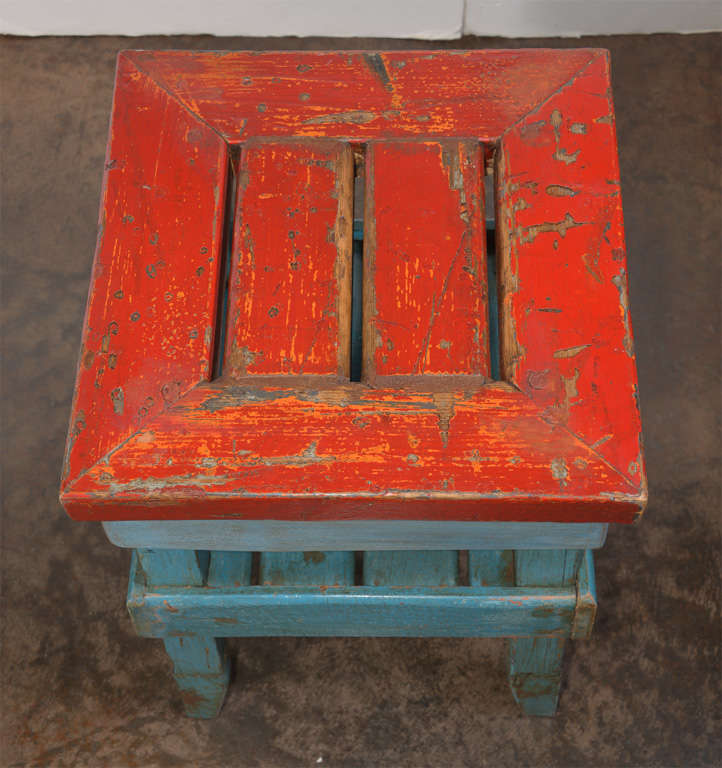 Antique French Folk Art End Table in Painted Pine  7