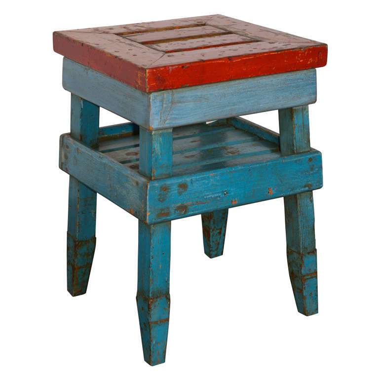 Antique French Folk Art End Table in Painted Pine  For Sale