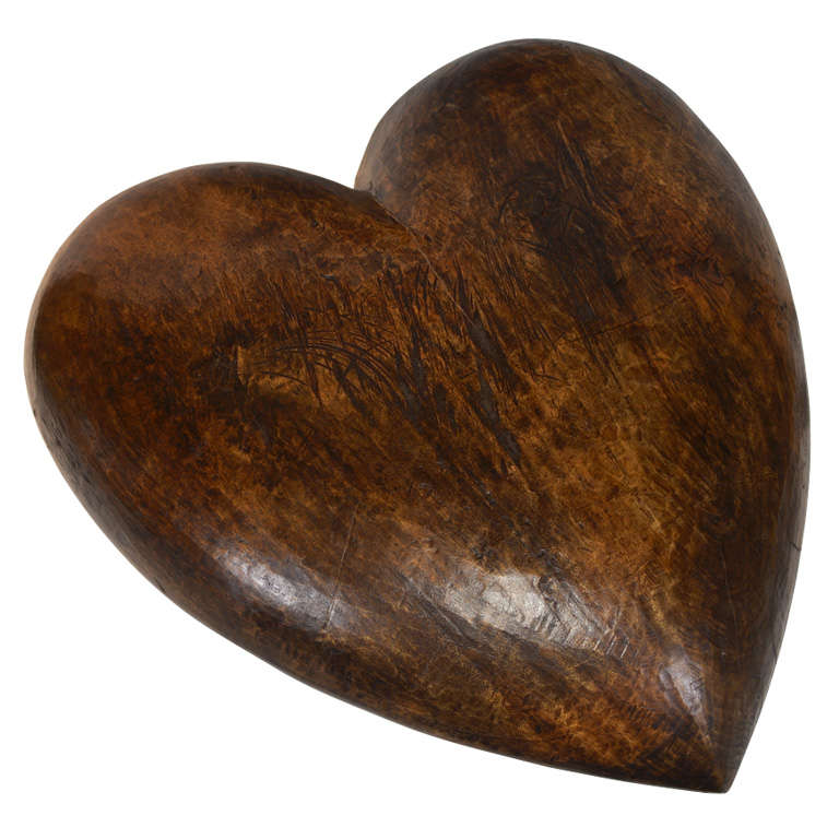 Antique italian carved walnut paper mache heart mold at