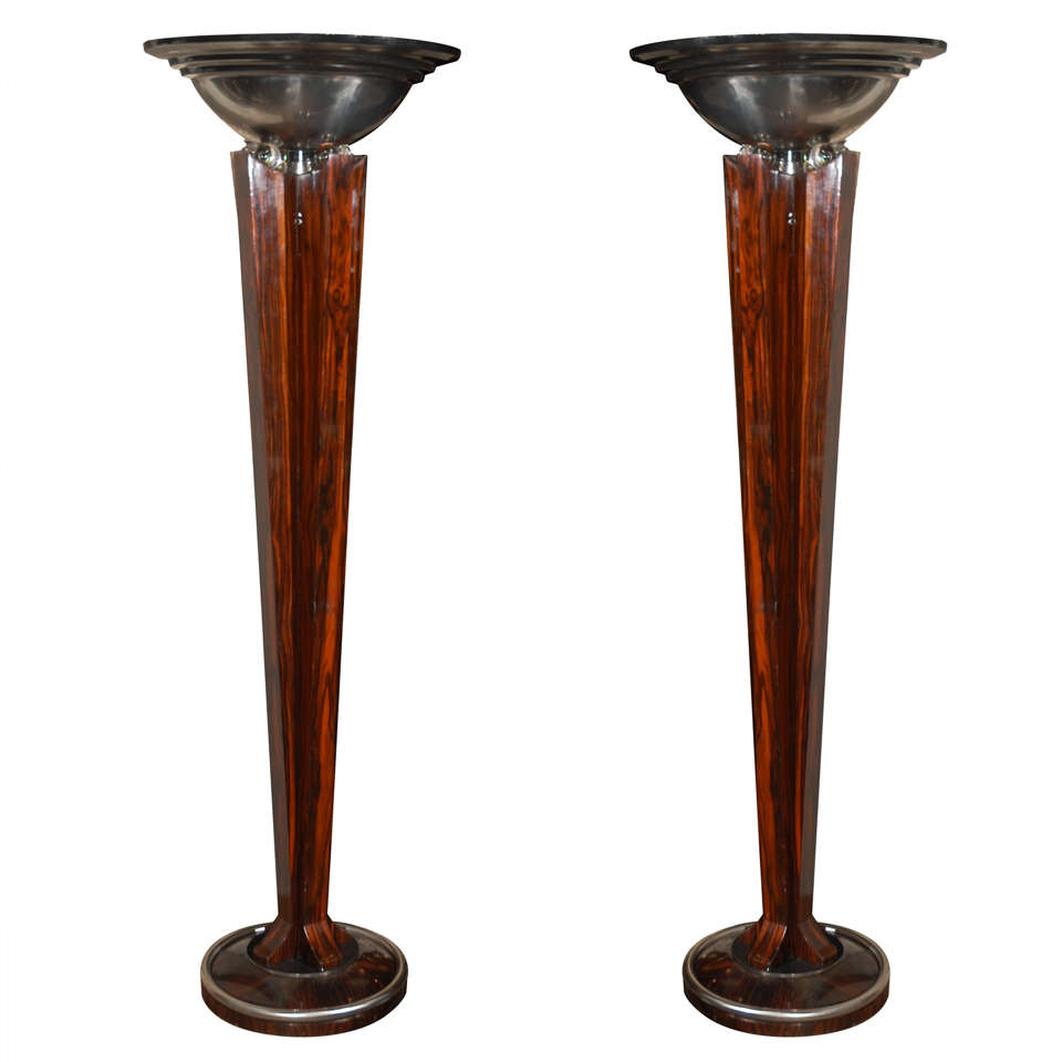 Pair Of Art Deco Macassar Torchieres At 1stdibs