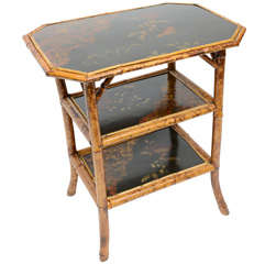 English Bamboo and Lacquer Side Table
