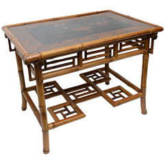 Very Rare English Bamboo and Lacquer Table