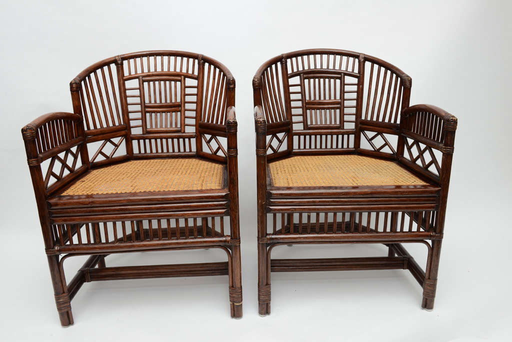 Pair Of Vintage Barrel Chairs With Cane Seat.