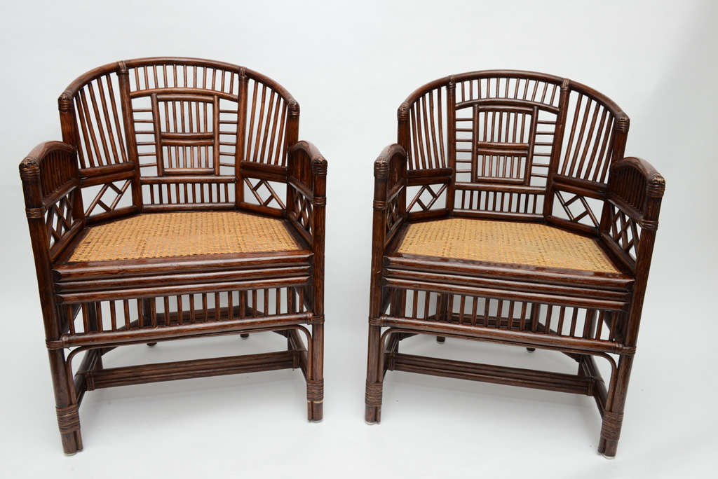 I American Pair Of Vintage Bamboo Rattan Barrel Chairs For Sale