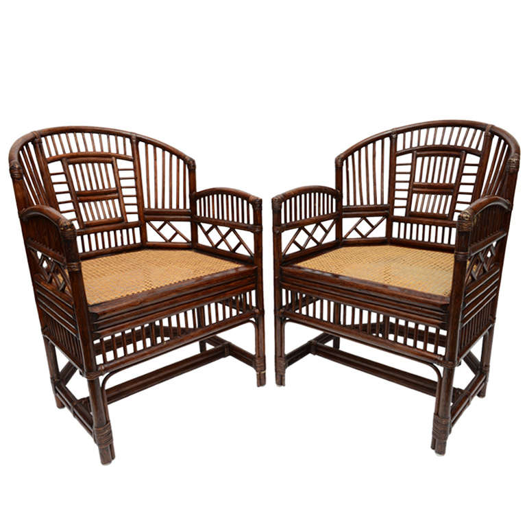 Pair Of Vintage Bamboo Rattan Barrel Chairs 1
