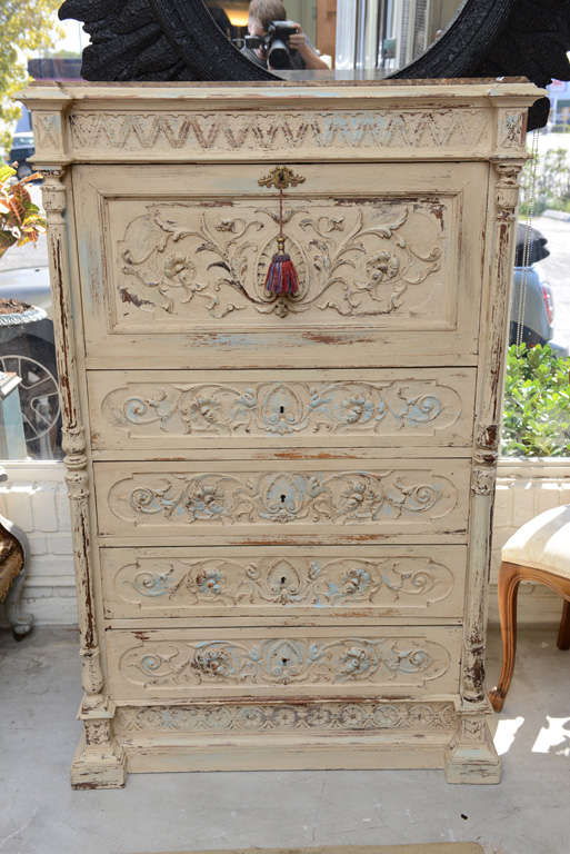 19th Century French Chest of Drawers with Writing Desk image 2